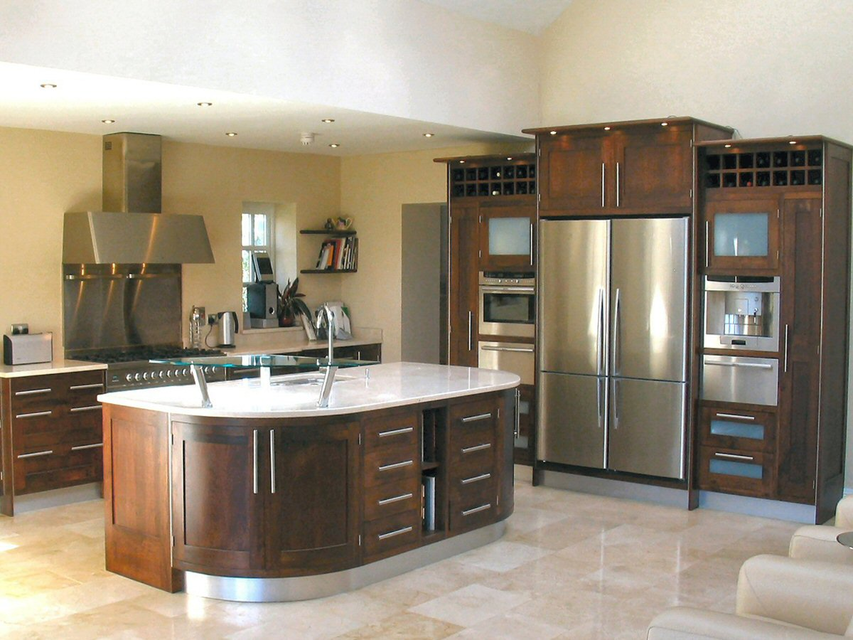 Contemporary walnut kitchen cabinets modern house for Modern kitchen cabinets