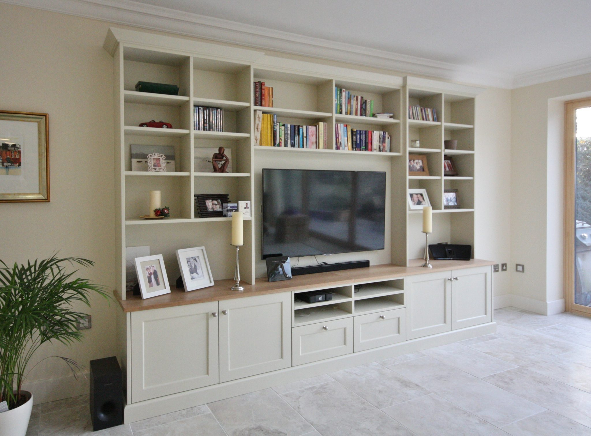 Enigma design hand painted tv unit for Tv shelving wall units